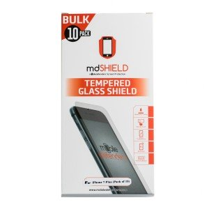 Pack of 10 Tempered Glass Shield (0.33mm) for iPhone 7 Plus / iPhone 8 Plus (Bulk MD Packaging)