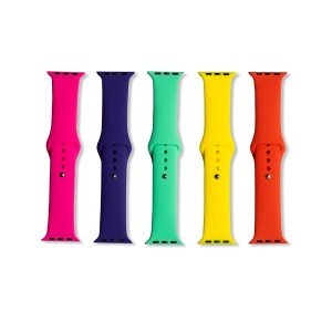 Silicone Apple Watch Band Set D (38mm/40mm) - 5 Pack